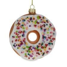 Doughnut Blown Glass Christmas Ornament 3.8 Inches