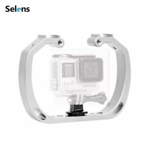 Diving Underwater Double-Arm Tray Handheld Stabilizer Cage for Action Camera