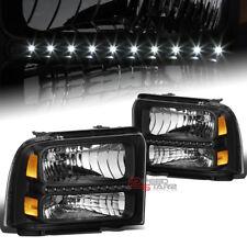 FOR 05-07 SUPERDUTY F250/F350/F450 BLACK CLEAR LENS LED HEADLIGHT+BUMPER LAMP
