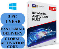 Bitdefender Antivirus Plus 3 PC 1 YEAR + FREE VPN GLOBAL ACTIVATION CODE 2020