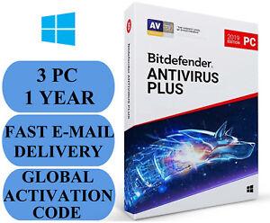 Bitdefender Antivirus Plus 3 PC 1 YEAR + FREE VPN GLOBAL ACTIVATION CODE 2021