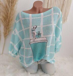 Italy Damen Strick Shirt Leichter Pulli Beauty Print Blogger Mint Weiß 38 40 42