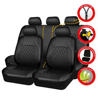 Universal Car Seat Covers PU Leather Black Waterproof Fit For SUV VAN Holden