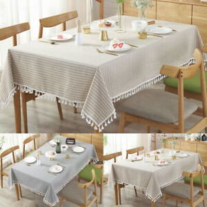 Cotton Linen Tablech Tea Dining Kitchen Table Cover Protector Stripe Tassel z