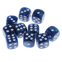 10x Pearlized Six Sided Spot Dices D6 Die for Party Bar Casino Game Blue