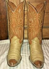 VNTG DAN POST 10D Shrunken Shoulder Boots Western Cowboy Tan/Russet