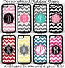 For iPhone 6Plus Personalized Monogram One Letter Pink Chevron Rubber Phone Case