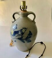 Rowe Pottery Works Ethan Allen Salt Glazed Table Lamp Blue Bird Stoneware Jug