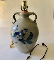 Rowe Pottery Works Ethan Allen Salt Glazed Table Lamp Blue Bird Stoneware Jug