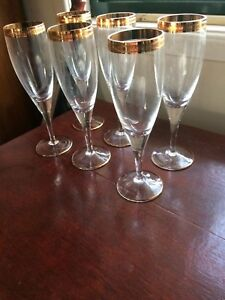 Bohemia Crystal Champagne Flutes with Gold Rim, Set of 6