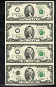 1935-D* 1976 $2 D* *STAR* Uncirculated/Au Block of 4 Great Condition^