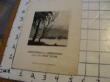 vintage ORIGINAL art: STEVENS Christmas card engraving, cool