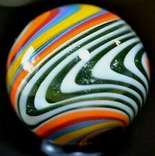 "HANDMADE GLASS MARBLE/1.311""-CHEVRON RAINBOW-GREEN LUTZ,BUTTERNUT,TEAL,LAVENDER+"