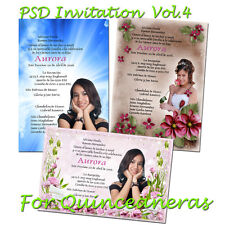 PSD Photoshop Templates   for Quinceaneras  Invitations Vol. 4 and  Tickets