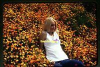 Bleach Blonde Woman in Daisy Flowers in 1973, Original Slide aa 10-23b