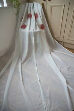 OFF WHITE VOILE PAIR CURTAINS,IKEA,48WX88D,SHEER,RED ROSES EMBROIDERED,SLOT TOP
