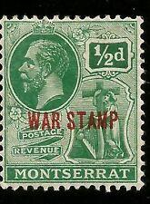 1917 Montserrat 1/2d era STAMP rotaufdruck irlandese Donna con CROCE inutilizzato