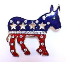 Large Patriotic Donkey Democratic Inpsired Pin Brooch Rhinestone Bling Broach