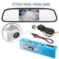 Car TFT LCD Monitor Mirror + HD CCD Reverse Rear View Backup Camera Kit 4.3''