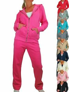 Ladies Comfy Soft Fleece Tracksuit Hooded Zip Top & Jogger Loungewear Set 10-22