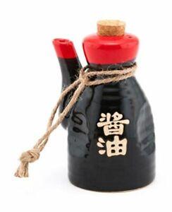 Japanese Ceramic Shoyu Soy Sauce Dispenser Cork Stopper 6 oz (Red Black)