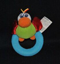 Peluche doudou perroquet oiseau CARREFOUR vert ailes anneau grelot 15 cm TTBE