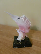 Carved Conch Shell Marlin Swordfish Sail Fish Figure Statue w/Marble Base. NICE!