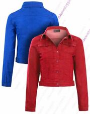 Womens Size 14 12 10 8 Stretch Denim Jacket Ladies Jean Jackets Red Blue