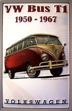 VW VOLKSWAGEN Autobus T1 1950 - 1967 Targa di latta 3D RILIEVO metallo 20x 30 cm