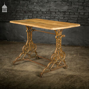 19th C Cast Iron Pub Table Base With Bleached Brushed Oak Top