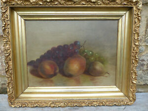 Antique Still Life Fruit Painting by Arnoud Wydeveld 1823-1888 Listed NY Artist
