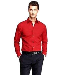 $90 Bill Blass Men Regular Fit Red Long-Sleeve Button Dress Shirt 15-15.5 32/33