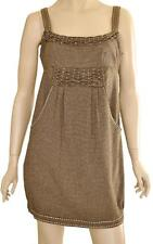 STELLA SZ 10 WOMENS Brown Houndstooth Pattern Sleeveless Short Tunic Smock Dress