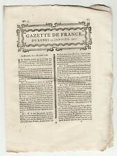 1767 january 19, Original French Gazette with news of various locations