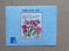 1988 LAOS BUTTERFLIES & FLOWERS MINI SHEET MINT STAMPS MNH FINLANDIA '88
