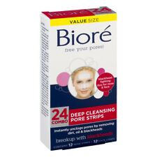 Biore 24 DEEP CLEANSING PORE STRIPS 7-NOSE & 7-FACE Instantly Unclogs Pores HQ