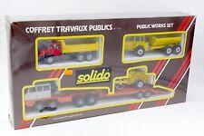 SOLIDO 1/50 COFFRET TRAVAUX PUBLICS #707 AVEC BERLIET T12 PORTE CHAR VOLVO ...