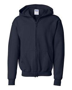 Gildan Youth Full-Zip Hooded Sweatshirt Heavy Blend 18600B XS-XL Hoodie