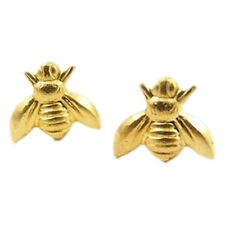 Cute Gold or Silver Plated Tiny Honey Bumble Bee Earrings Studs Gift Animal Stud