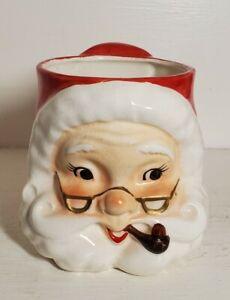 Vintage Christmas Lefton Santa Face Non Winking w/ Glasses & Pipe Cup Mug JAPAN