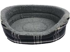 EX LARGE OVAL DOG BED IN CHARCOAL GREY REMOVABLE THICK FOAM INNER WASHABLE  34'