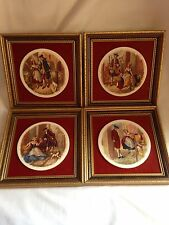 Vintage/antique Porcelain And Velvet Wall Picture Set Of 4