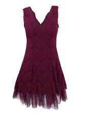 Betsy & Adam Women's Lace-Overlay Tulle A-Line Dress