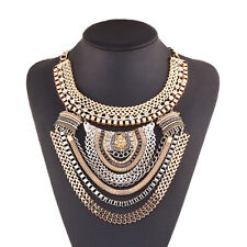 Fashion Vintage Charm Pendant Crystal Choker Chain Chunky Statement Bib Necklace