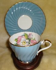 VINTAGE AYNSLEY  BLUE SWIRL CUP & SAUCER  MAKE IN ENGLAND