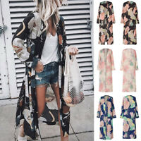 Women Boho Floral Cardigan Coat Ladies Long Sleeve Beach Long Coat Jacket Casual