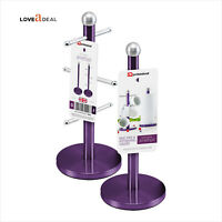 Purple Stainless Steel 6 Mug Tree Stand HOLDER Set Kitchen Towel Paper Roll Pole