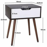 Side End Table Night Stand with Drawer Saving Space Storage Bedroom Decoration