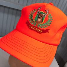 Safety Orange Trophy Deer Hunting Snapback Baseball Hat Cap Made In USA