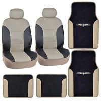 Black & Beige Synthetic Leather Car Seat Covers w/ Vinyl Trim Carpet Floor Mats
